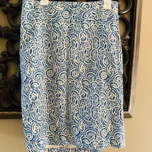 Blue & White lined Limited Pencil skirt 0